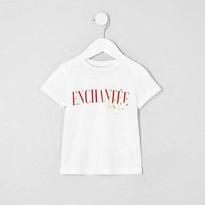 Mini - Wit T-shirt met 'enchantee'-print voor meisjes