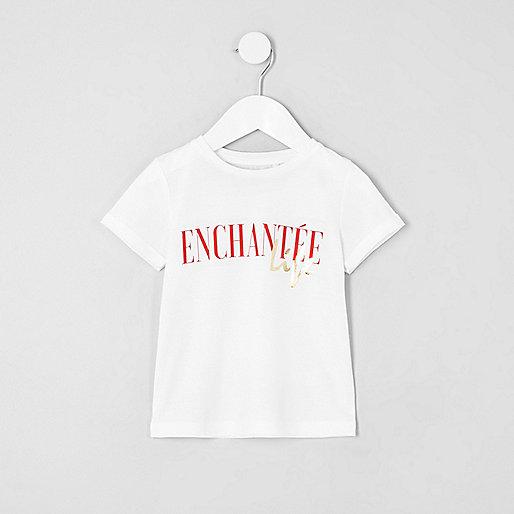 Mini girls white 'enchantee' print T-shirt