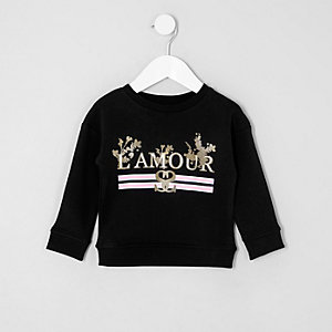 Mini girls black 'l'amour' print sweatshirt