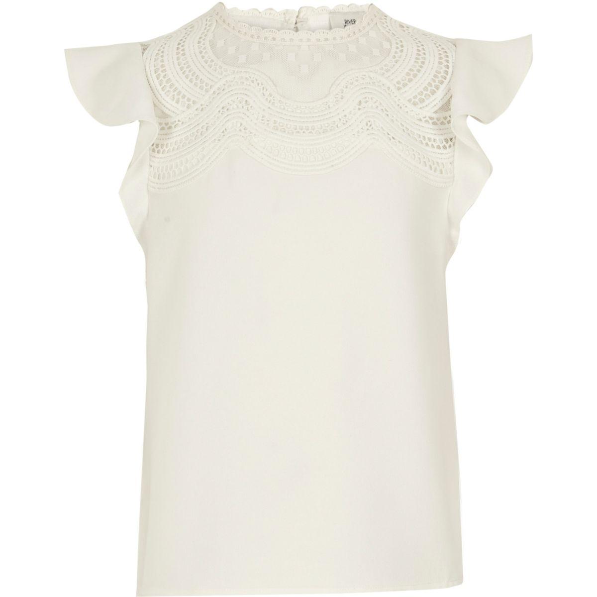 Girls white crochet lace yoke top
