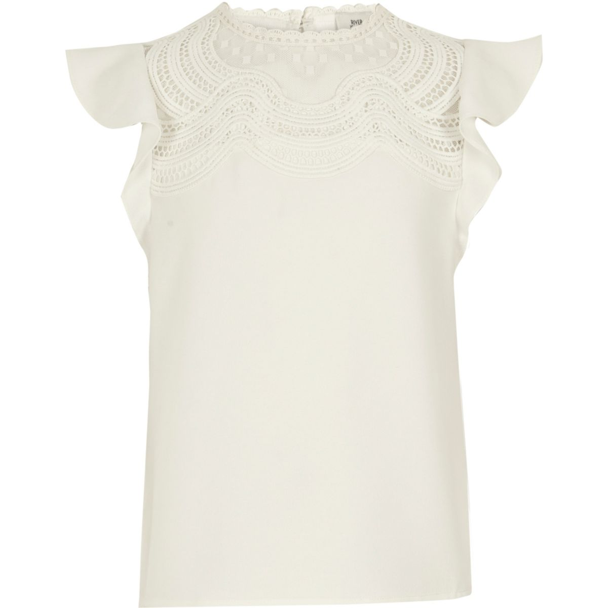 Girls white crochet lace yoke top