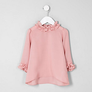 Mini girls pink ruffle trim long sleeve top