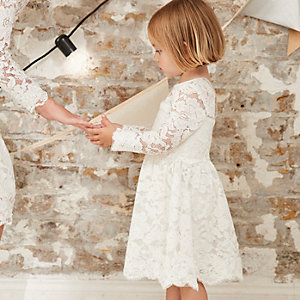 Mini girls white floral lace occasion dress