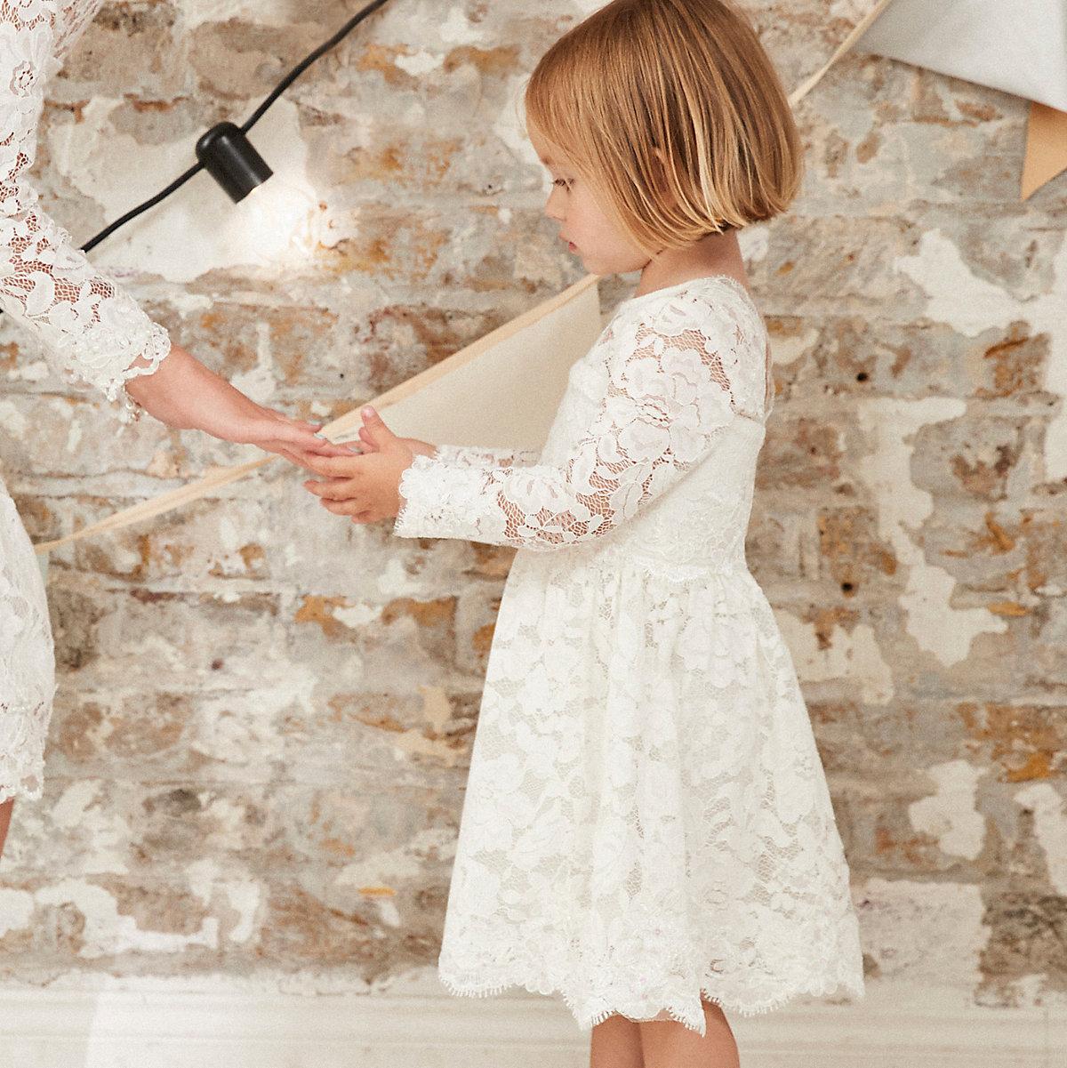 Mini girls white lace flower girl dress