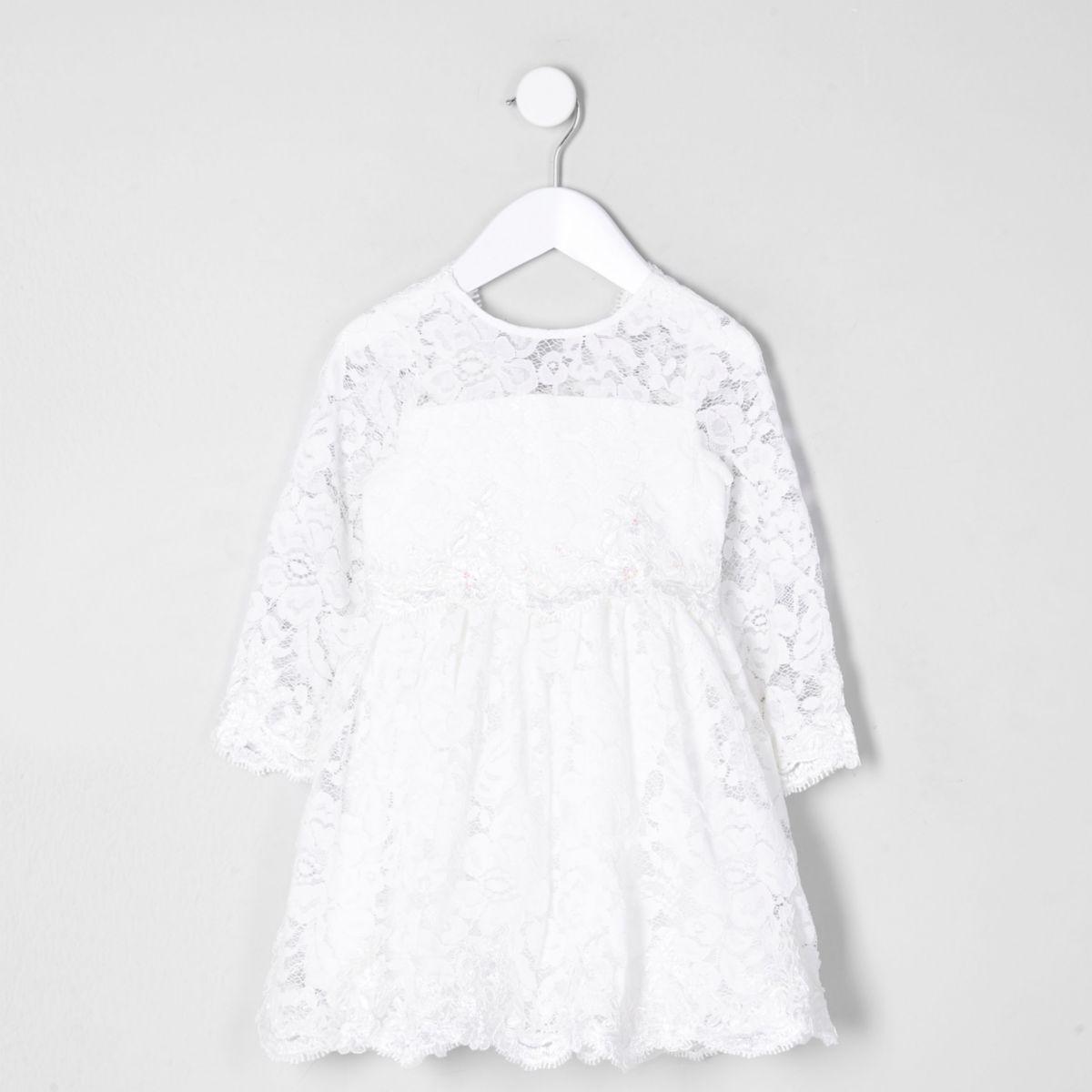 Mini Girls White Lace Flower Girl Dress Baby Girls Dresses Mini