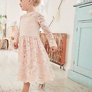 Mini girls pink floral lace occasion dress