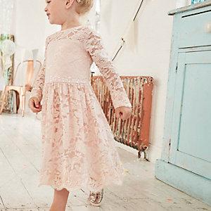 Robe de demoiselle d'honneur en dentelle à fleurs rose mini fille