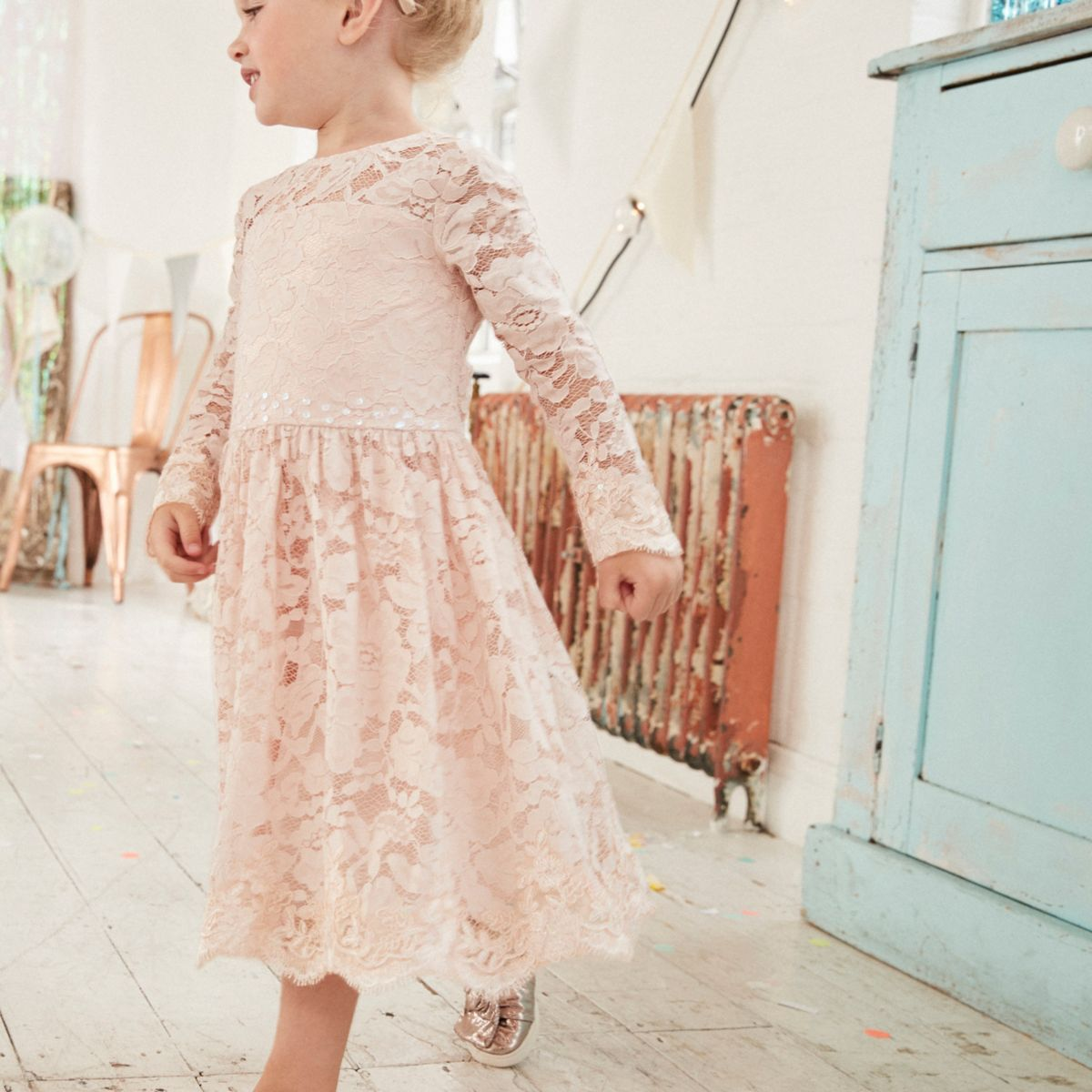 Mini girls pink floral lace flower girl dress - Baby Girls ...