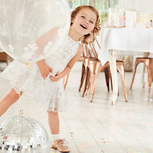 Mini girls white mesh embroidered prom dress