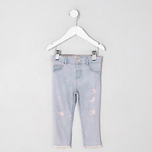 Molly – Jegging bleu rosé déchiré mini fille