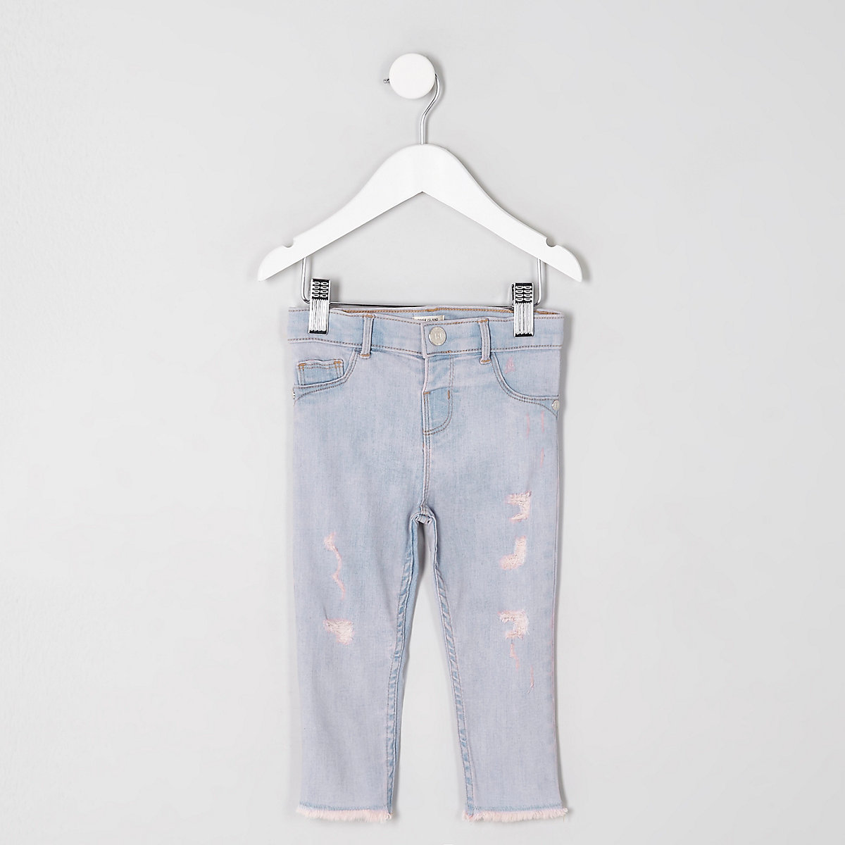 Mini girls blue pink tint rip Molly jeggings