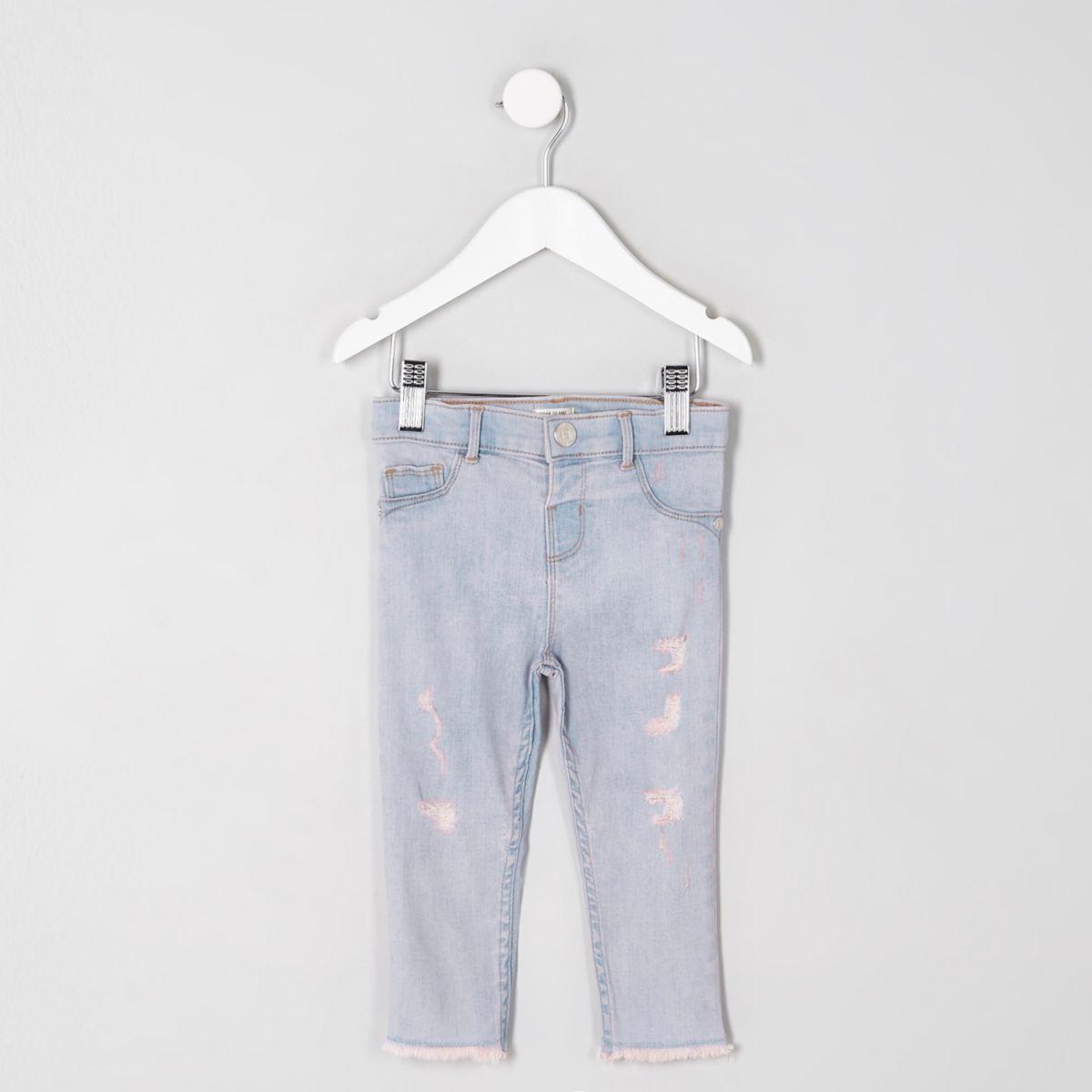 Mini girls blue pink tint rip Molly jeggings