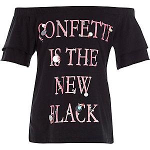 Top Bardot noir avec inscription «confetti» à sequins pour fille