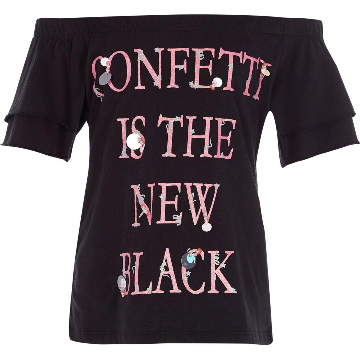 Girls black 'confetti' sequin bardot top