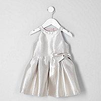 Mini girls metallic silver bow prom dress
