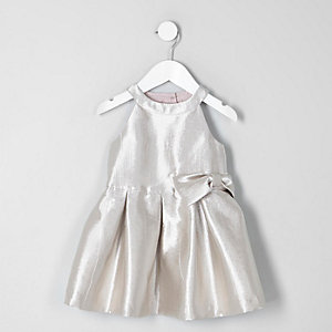 Mini girls metallic silver bow prom dress