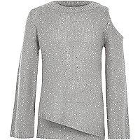 Girls grey sequin cold shoulder jumper