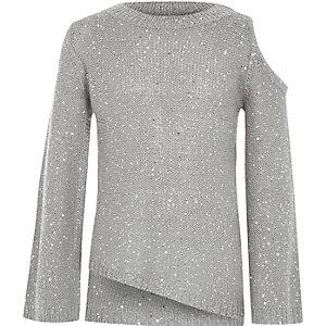 Grauer, paillettenverzierter Pullover mit Schulterausschnitten