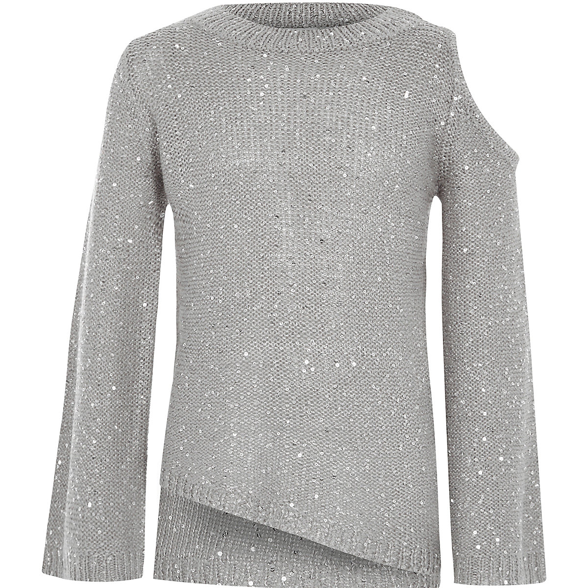 Girls grey sequin cold shoulder jumper