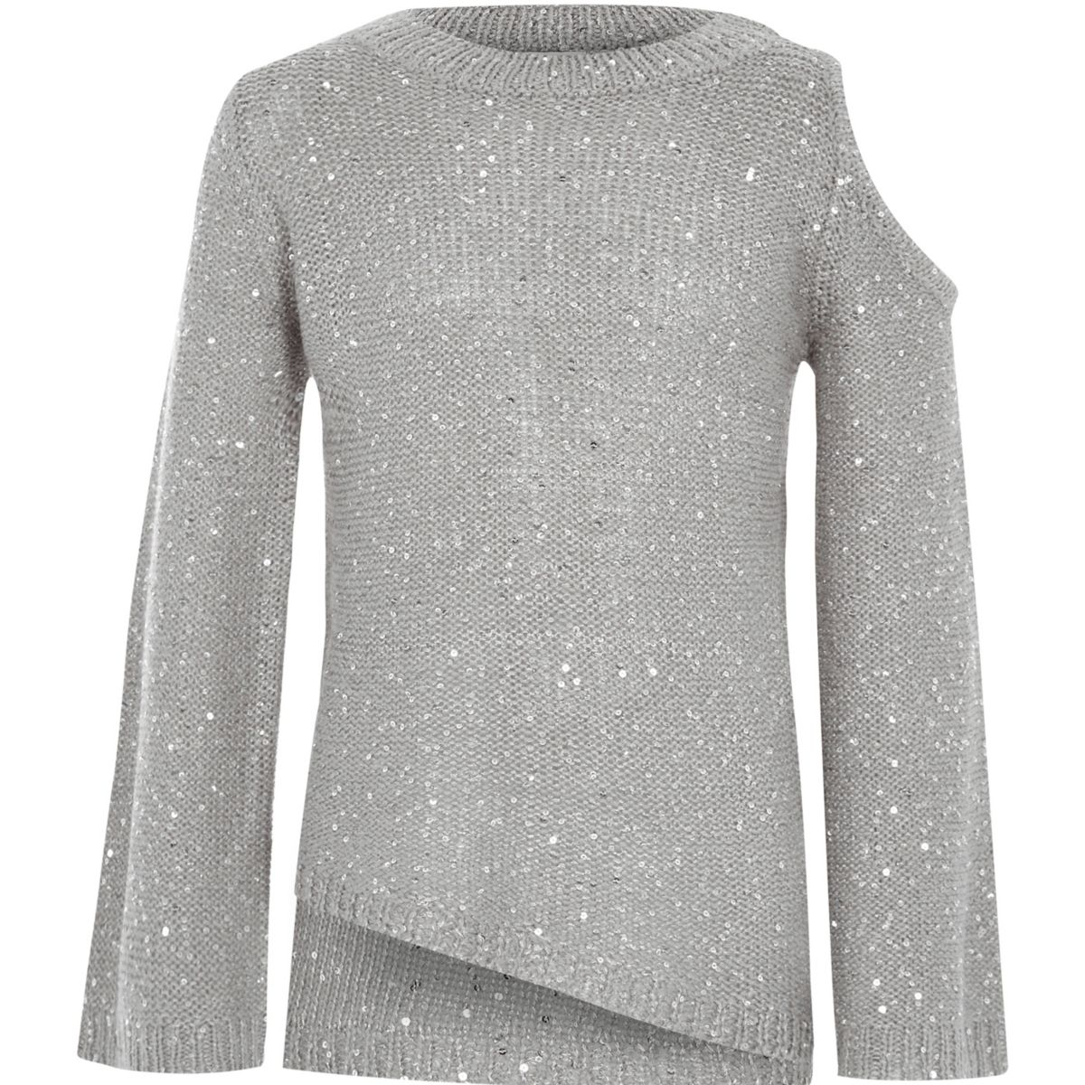 Girls grey sequin cold shoulder sweater - Cardigans / Sweaters ...