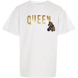 "Weißes T-Shirt mit ""queen bee""-Print"