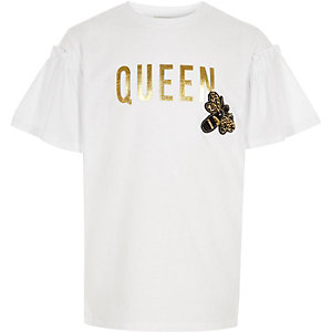 Girls white 'queen' bee embellished T-shirt