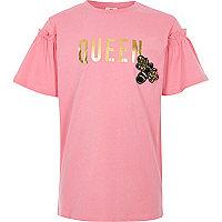 Girls pink 'queen' bee embellished T-shirt