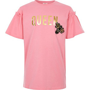 Girls pink 'queen' bee embellished T-shirt