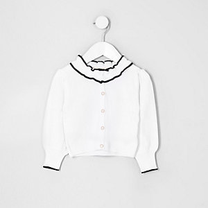 Mini girls white frill collar cardigan