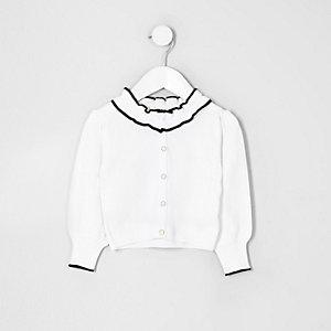 Mini girls white frill collar cardigan
