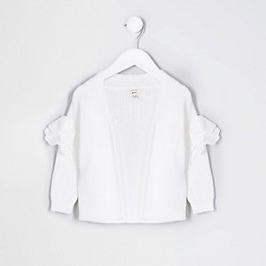Mini girls white broderie frill cardigan