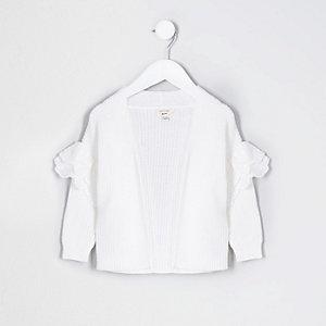 Mini - Wit vestje met broderie en ruches voor meisjes