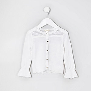 Mini girls white lurex stitch cardigan