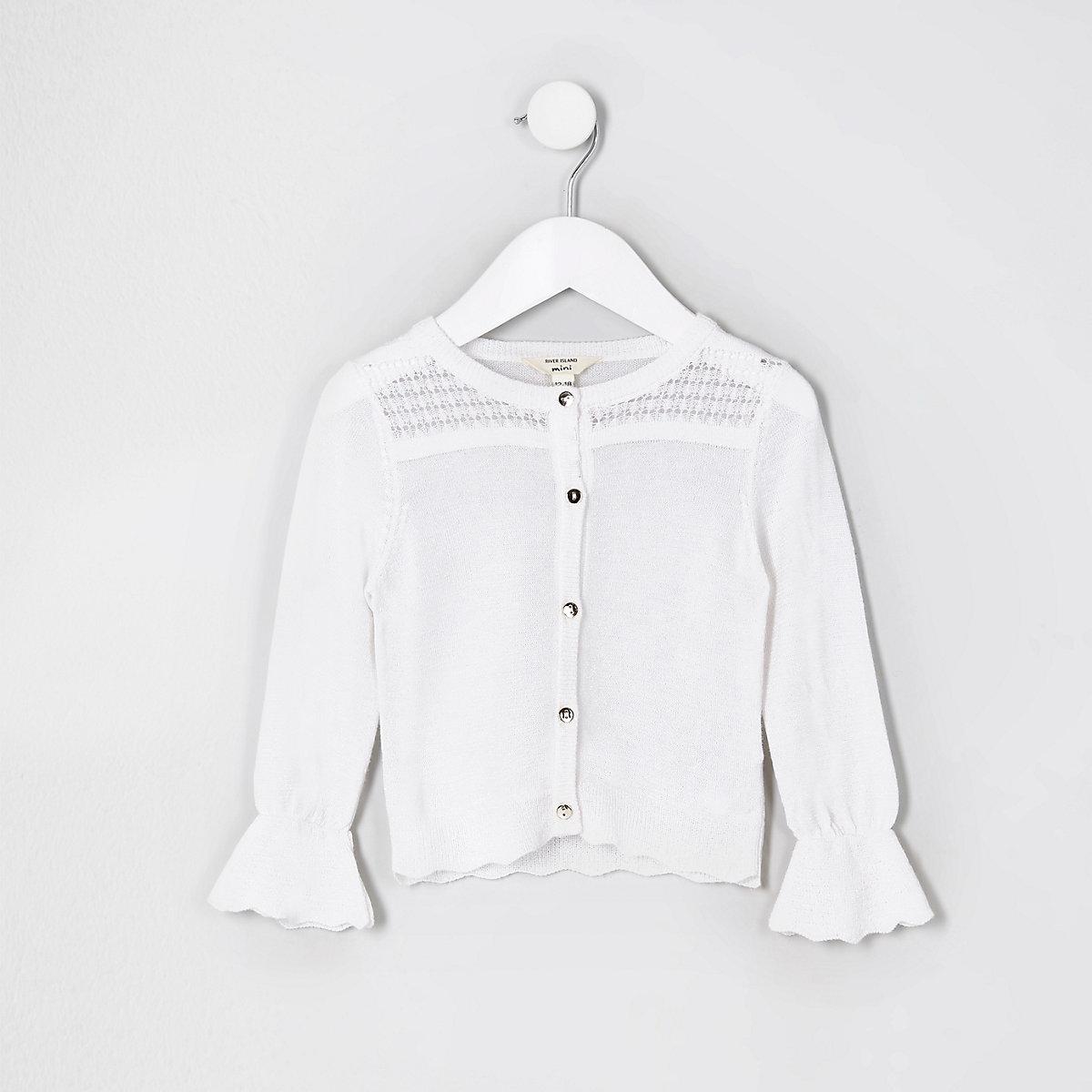 Mini girls white metallic stitch cardigan