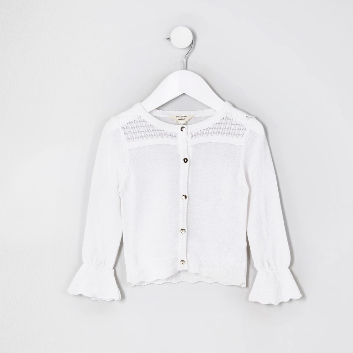 Mini girls white metallic stitch cardigan