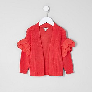 Mini girls red frill sleeve cardigan