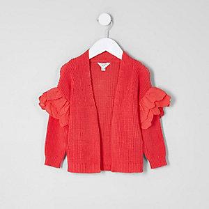 Cardigan rouge avec volants aux manches mini fille