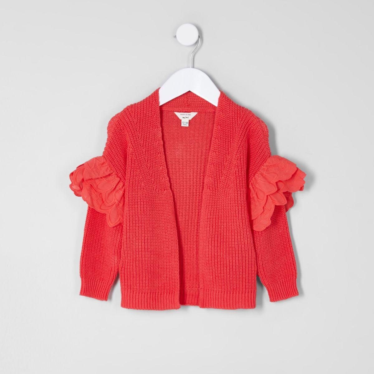 Mini girls red frill sleeve cardigan