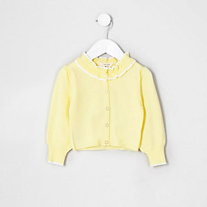 Mini girls yellow frill collar cardigan