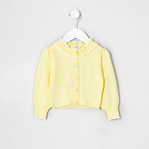 Mini - Geel vest met ruches aan de kraag voor meisjes