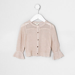 Mini girls cream sparkle cardigan