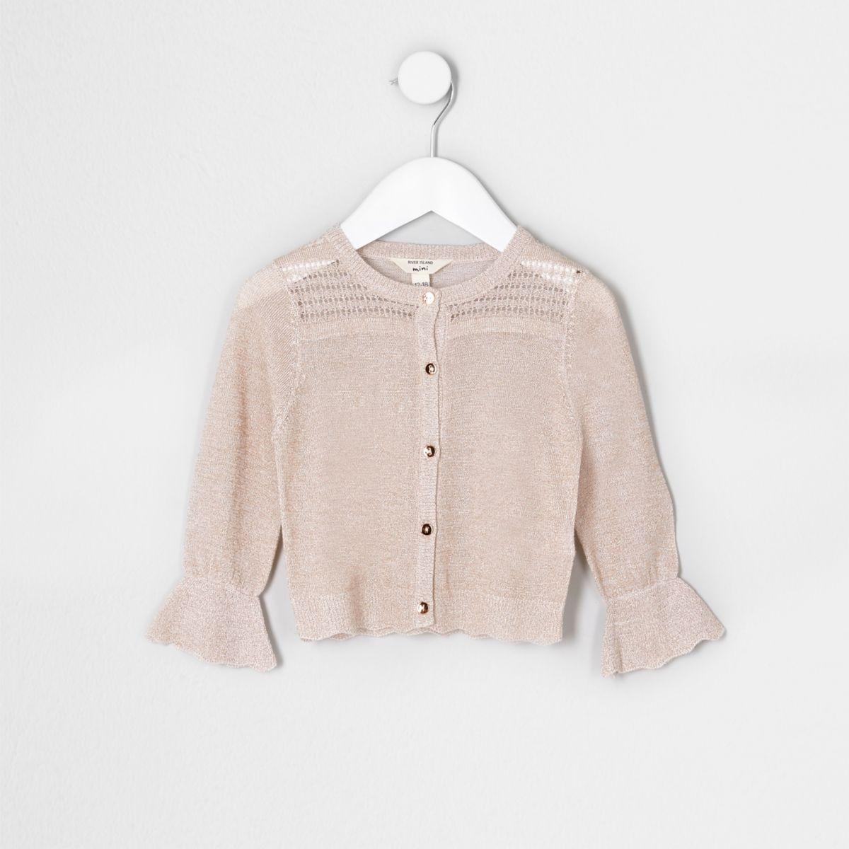Mini girls cream metallic stitch cardigan