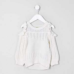 Mini girls white frill cold shoulder jumper