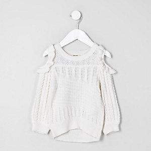 Mini - Witte schouderloze pullover met ruches voor meisjes