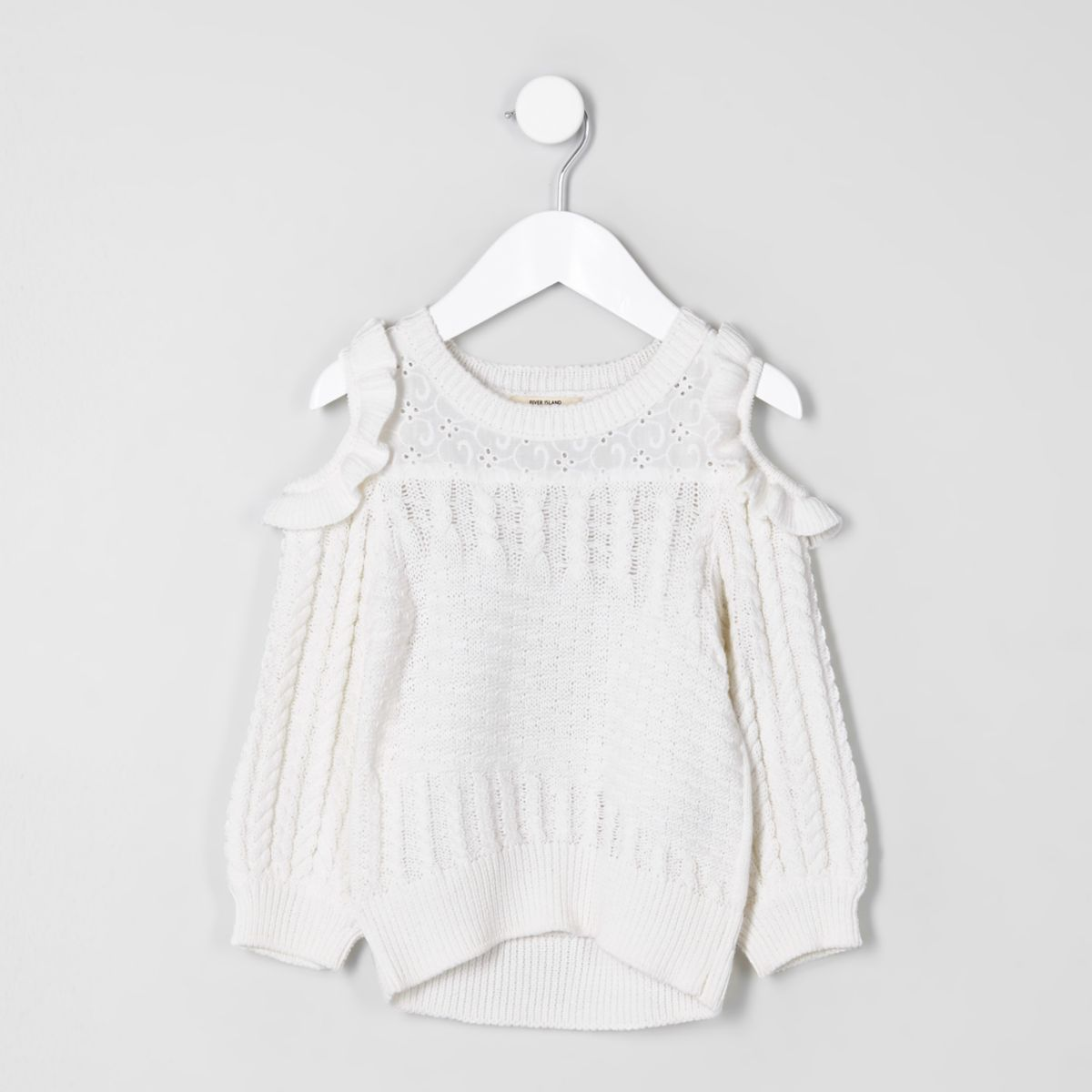 Mini girls white frill cold shoulder sweater