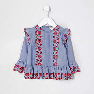 Mini girls blue broderie long sleeve top