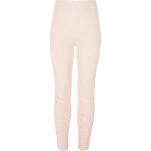 Girls pink ruched side leggings
