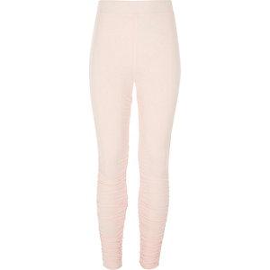 Girls pink ruched side leggings