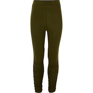 Girls khaki ruched side leggings