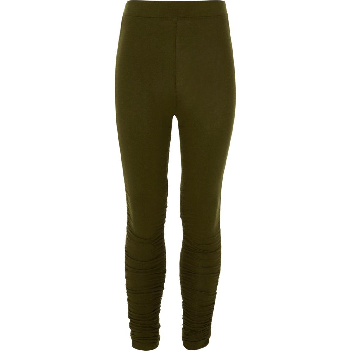 Girls khaki ruched side leggings
